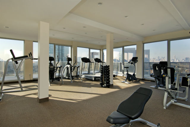 The gym is on the roof deck and overlooks Manhattan