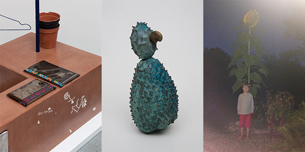Image: Left to right: Magali Reus, In Place Of (Sundries), 2015. Courtesy the artist; The approach, London; and Freymond-Guth Fine Arts, Zurich. Erika Verzutti, Galapagos, 2007. Collection of Rose and Alfredo Setubal. Michael E. Smith. Image courtesy the artist.
