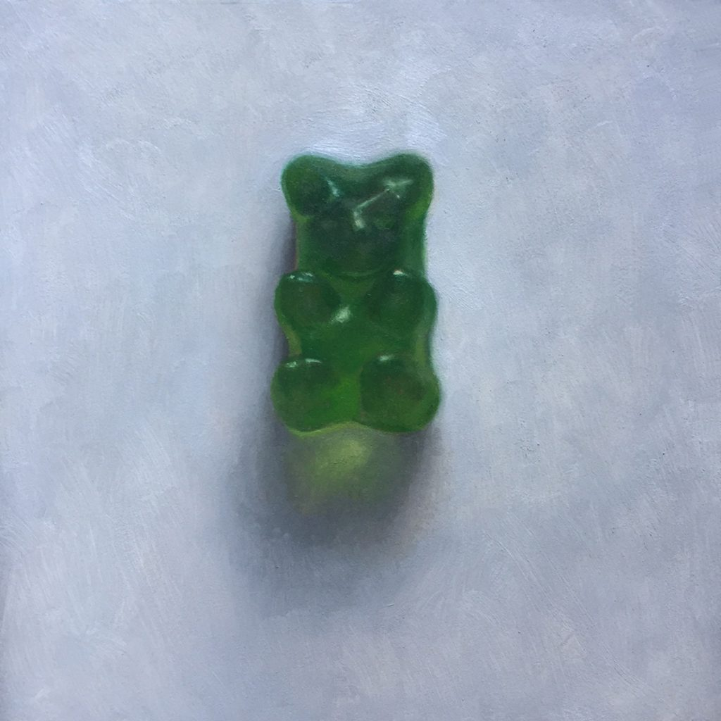 "Sam Hung, Green Bear, 2016, 8x8"", oil"